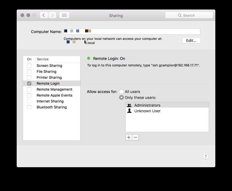 macOS Remote Login: On