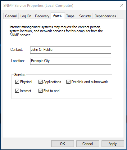 Adjust the Agent in the SNMP Service