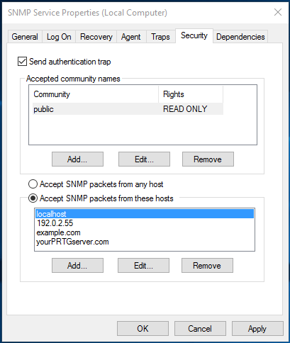 Adjust Security for the SNMP Service