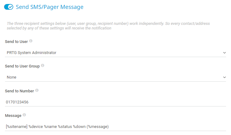 SMS Notification Settings