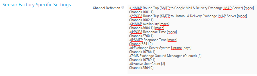 Sensor Factory Channel Definition
