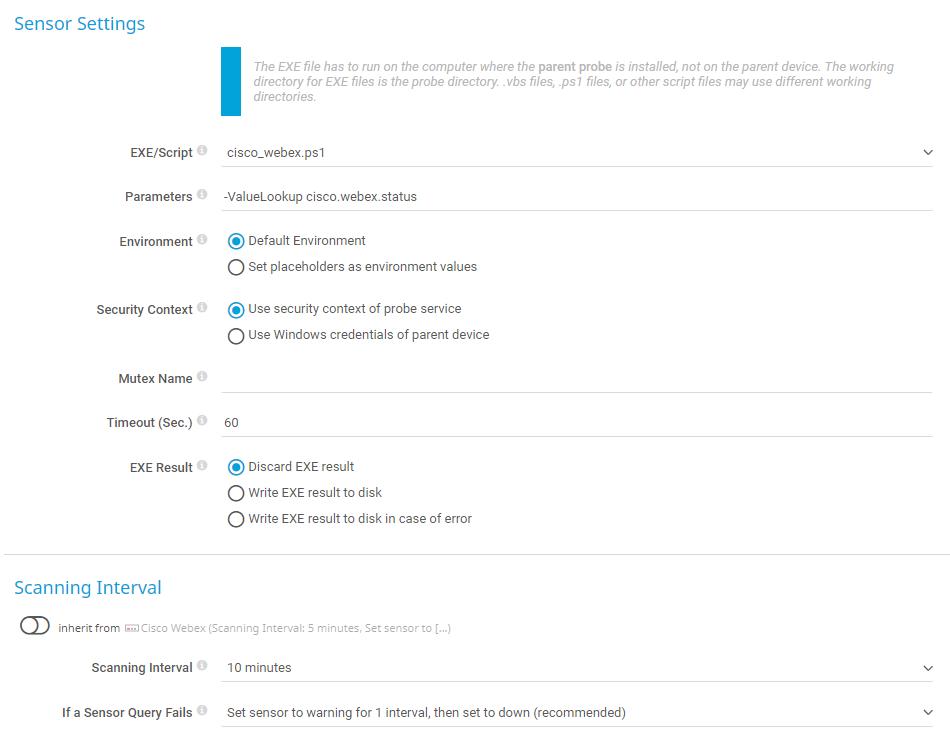Cisco Webex Status sensor settings