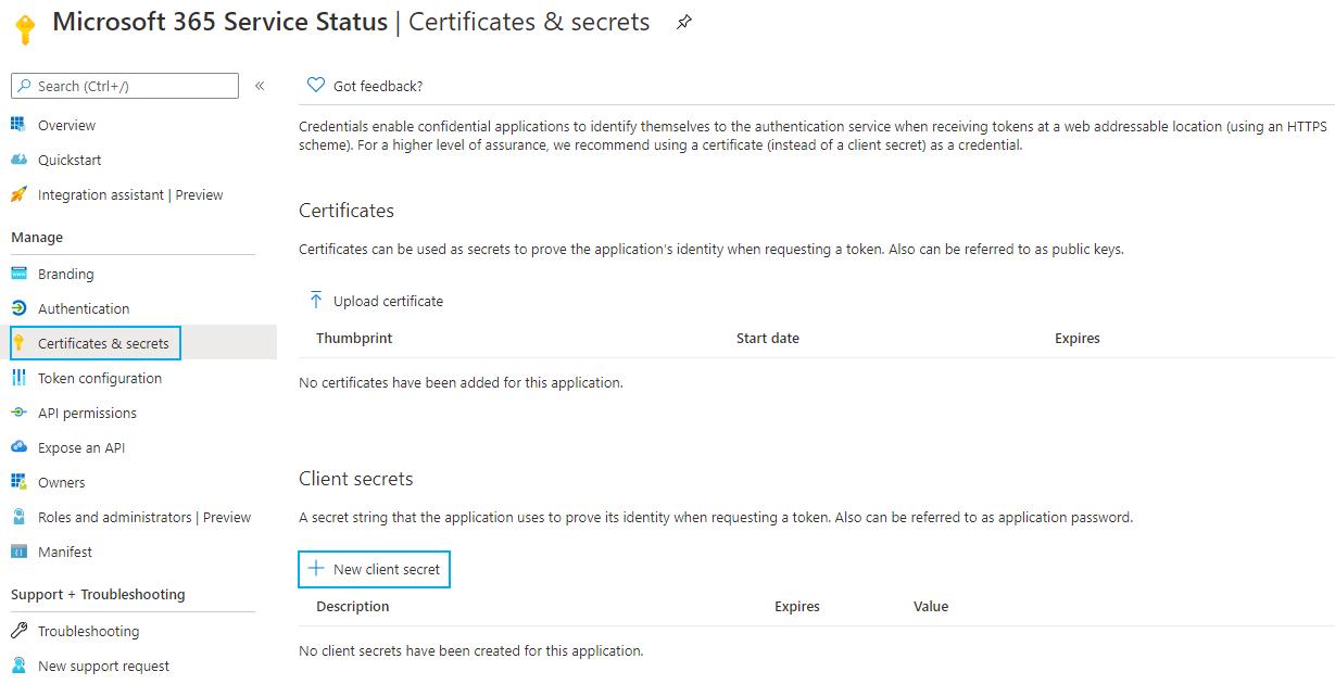 Certificates & Secrets Tab