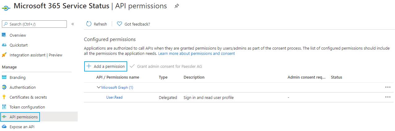 API Permissions Tab