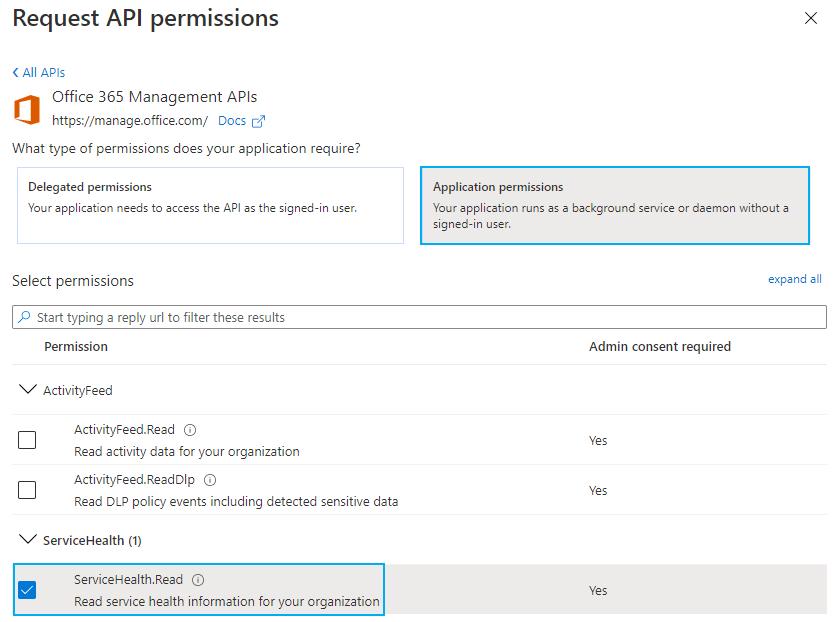 API Permissions Dialog