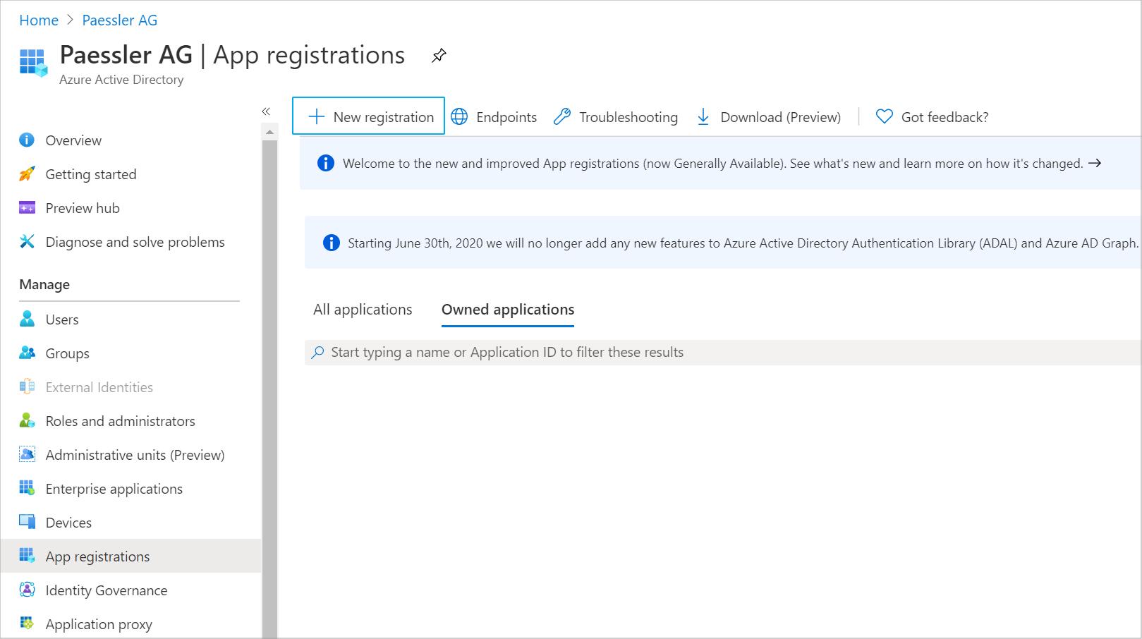 App Registrations Tab