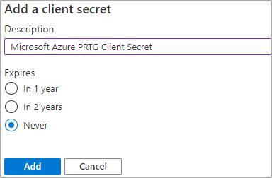 New Client Secret Dialog