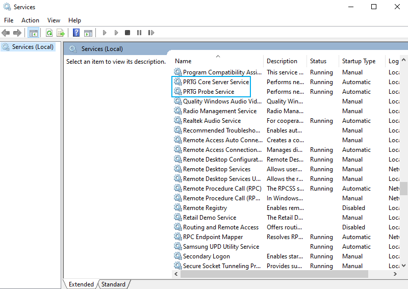 PRTG services in Windows Service app