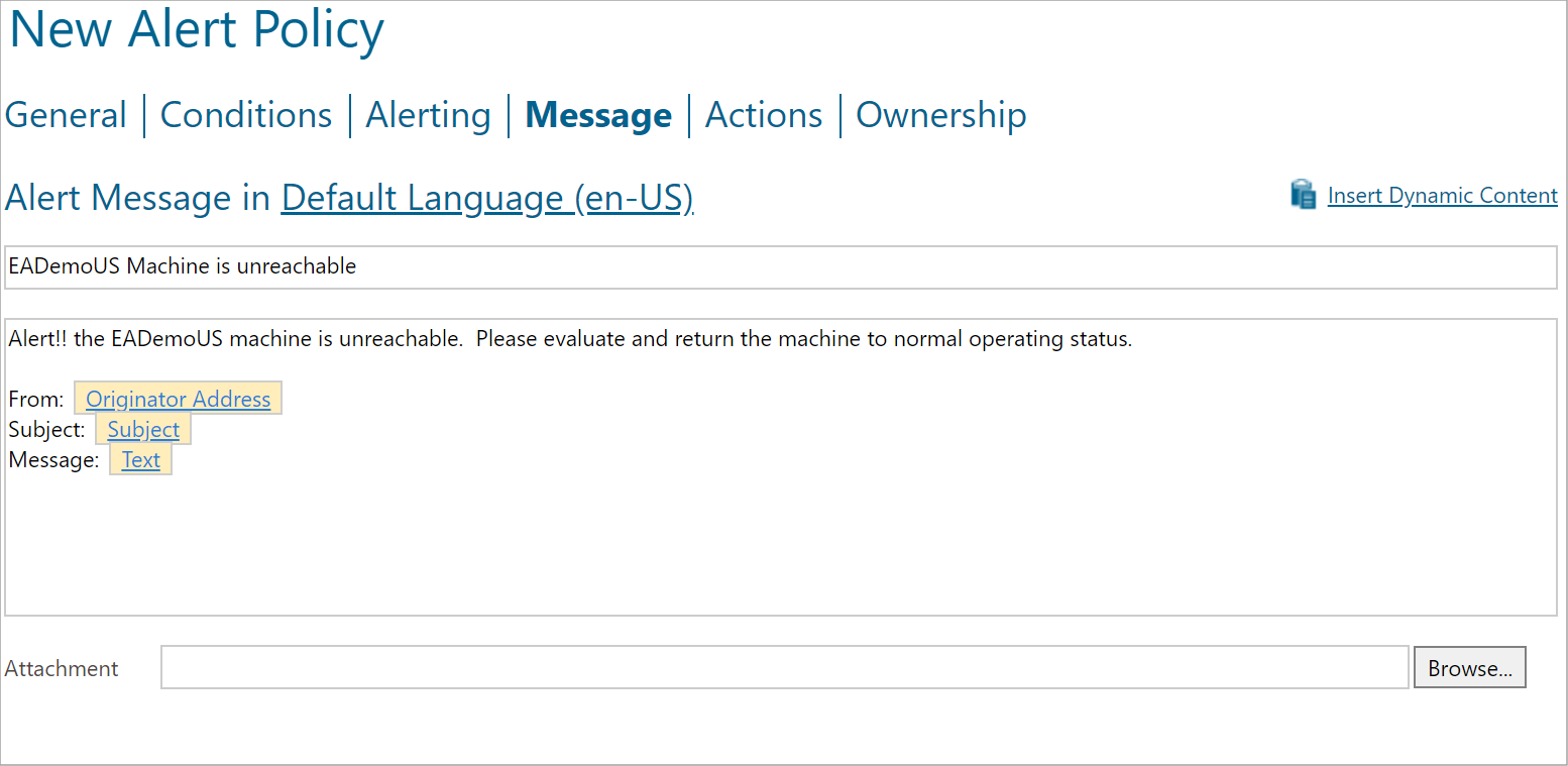 Configure email message