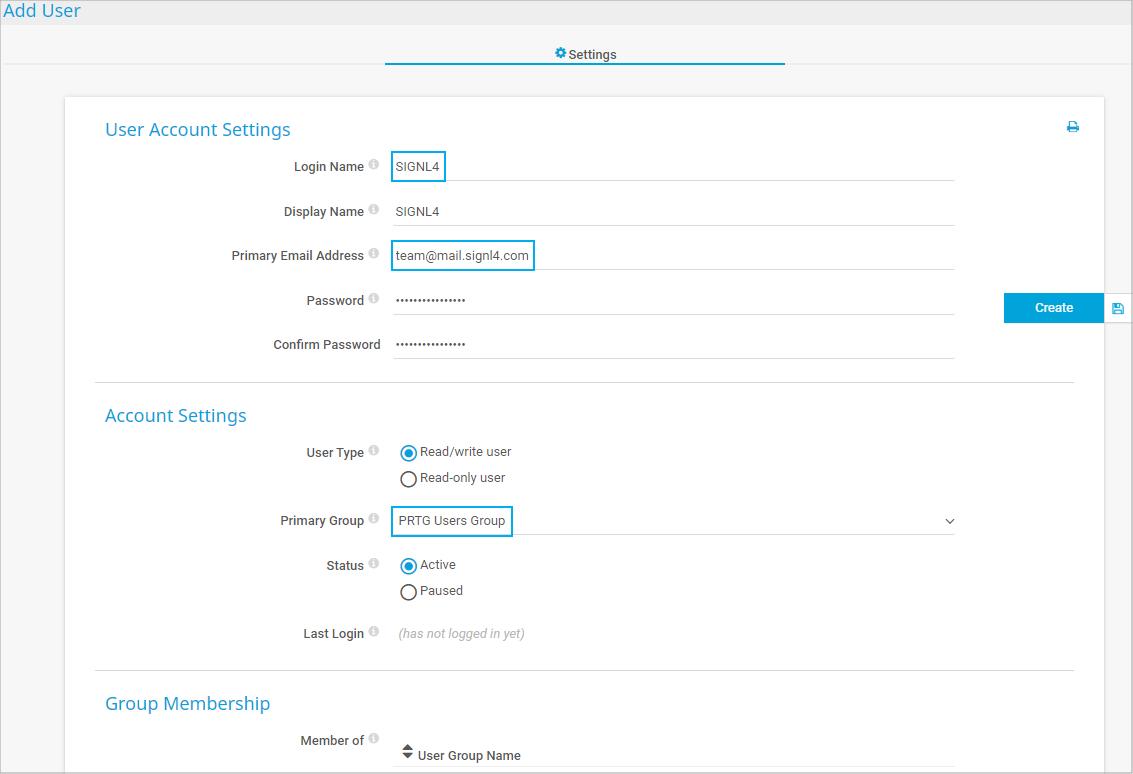 Configure new user account