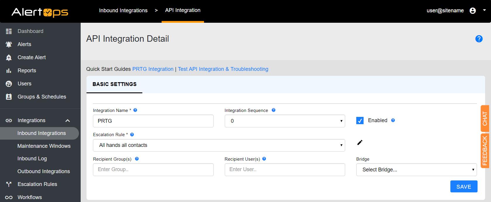Configure API integration in AlertOps